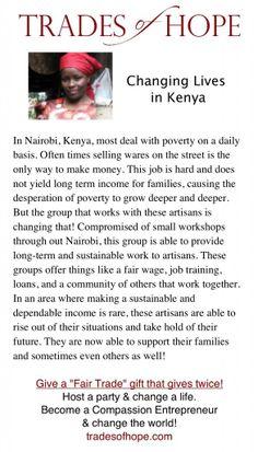 Artisan Trades of Hope Kenya. Visit www.mytradesofhope.com/jenniferheybore or www.mytradesofhope.com/parties/13152