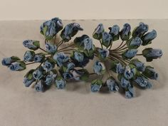 Rose Buds Miniature Blue Parchment Millinery Dolls Crafts Scrapbooks Flowers  #Doesnotapply