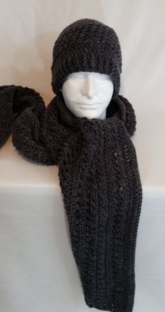 Gray Hat and Scarf Set, Nell's Gray Crochet Beanie with Matching Scarf