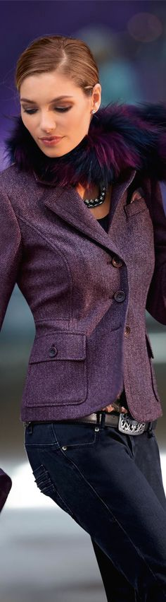 Madeleine Fall 2014 ● Madeleine Tweed Blazer/Jacket - Take out the fur and im sold !