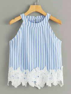 To find out about the Striped Appliques Halter Blouse at SHEIN, part of our latest Tank Tops & Camis ready to shop online today! Kids Outfits, Cute Outfits, Plus Size Tank Tops, Kids Fashion, Fashion Outfits, Applique Fabric, Vacation Dresses, Cami Tops, Baby Dress