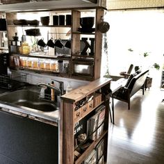 インダストリアル/カフェ風/男前/見せる収納/カウンター棚DIY/キッチン…などのインテリア実例 - 2015-01-25 12:26:06 | RoomClip(ルームクリップ)