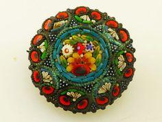 Vintage Micro Mosaic Millefiori Circular Floral Brooch