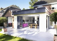 Kitchen extension: not keen on roof design and folding doors, only for side door Kitchen Extension Cost, Roof Extension, Extension Ideas, Extension Google, Extension Costs, Conservatory Extension, Building Extension, Extension Designs, Roof Design