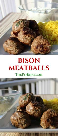 Bison Meatballs Meatballs are such a great way to prepare protein. These bison meatballs are packed with Mediterranean flavor inspired by some of our many trips to Greece. Meat Recipes, Paleo Recipes, Cooking Recipes, Free Recipes, Meatball Recipes, Chicken Recipes, Recipies, Dinner Recipes, Homemade Tzatziki