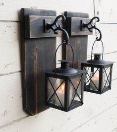NEW..Ready to Ship...Rustic Farmhouse Reclaimed Weathered Wood Wall Decor...2 Hanging Black Lanterns...Distressed Black