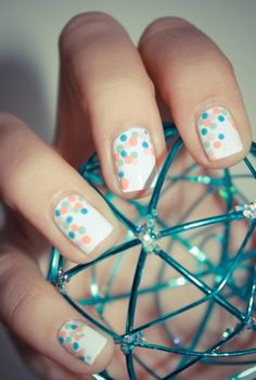 White Nails w/ Coral, Mint, & Sky Blue Dots