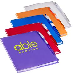 PL-1722  Clear-View Notebook with Pen. Soft PVC cover with color-matching click-action two-tone ballpoint pen. 80 ruled pages. Pen loop