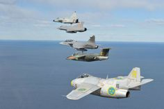 Formation of swedish fighter jets since the early 1950's