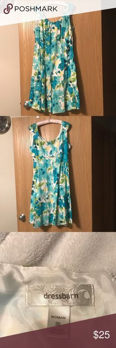 Green and teal Floral dress Floral dress that is tea length perfect for weddings and going to Sunday mass Dress Barn Dresses
