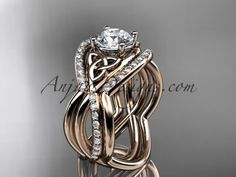"14kt rose gold celtic trinity knot engagement ring, wedding ring with a ""Forever One"" Moissanite center stone and double matching band CT790S"