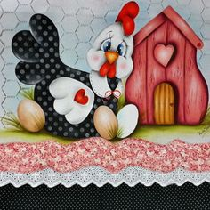 Pano de Prato no Tole Painting, Painting On Wood, Cartoon Chicken, Clay Jar, Chicken Art, Rock Decor, Decoupage Vintage, Country Paintings, Coq