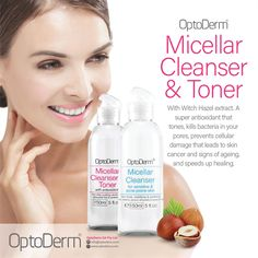 OptoDerm Micellar Cleanser and Toner With Witch Hazel extract. A super antioxidant that that tones, kills bacteria in your pores, prevents cellular damage that leads to skin cancer and signs of ageing, and speed up healing. Available at Skinlogic www.skinlogic.biz