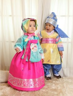 cuties in hanbok