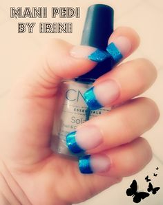Acrylic nails -no tips -blue french.