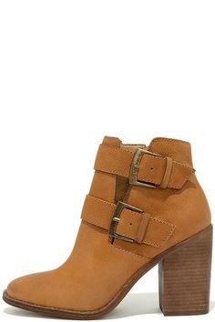 Steve Madden Trevur Booties | Women's Fashion | Fall 2016 | Style Trends | Boots | Leather | Brown | Tan | Block Heel | Brass Buckles | www.sabiboutique.com | http://www.sabiboutique.com/collections/new-arrivals/products/steve-madden-trevur-booties