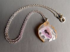 Occo Agate Druzy Geode Slice Pendant Necklace with PINK Quartz Crystals (Item E 88) by enki3000 on Etsy