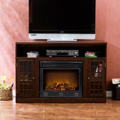 Boston Loft Furnishings ATG Narita Media Console with Electric Fireplace - ATG Stores Concrete Fireplace, Fireplace Mantle, Media Fireplace, Country Fireplace, Craftsman Fireplace, Fireplace Modern, Simple Fireplace, Fireplace Bookshelves, Fireplace Outdoor