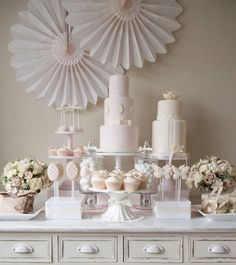 Soft Pink & Ivory Dessert Table by Jenni Bishop of Little Boutique Bakery, via Reverie Magazine Photo by: Fiona Kelly Photography