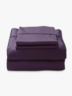 Luxury Sheet Set in Purple from AURA Linen, available at Forty Winks.
