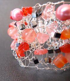 Silver Bracelet Cuff Statement Jewelry Wire Hand Knit by imwyred,