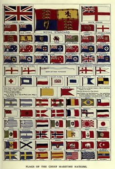 Flags of the major maritime nations from All about Ships by H. Taprell Dorling (1912)