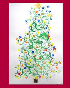 Christmas kids crafts - Christmas tree painted with a paper roll tube, snowmen made from a hand print,