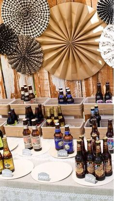 Beer tasting / party decor Love this idea for a birthday party or jack & Jill engagement shower!
