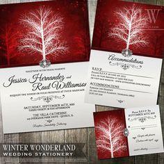 Invitation de mariage hivernal, RSVP et logements carte Suite papeterie - Digital imprimable - élégant rouge perle mariage  Winter Wonderland