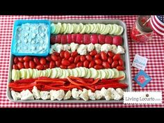 American Flag Vegetable Tray and Dill Dip Recipe. Fun and Easy 4th of July Party idea!