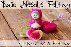 Basic needle felting....cute easy felt hearts as well as sculptural felting! #diy #tutorial