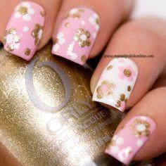 Pink & gold nails ✿⊱╮