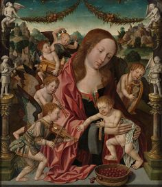 Mary with child and angels making music Jacob Cornelisz. or Oostsanen, 1510 - 1520 | Museum Boijmans Van Beuningen