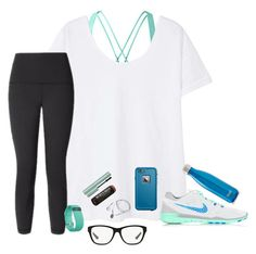 """Workout Wednesdaaay! Check Out Mine Below!"" by bowbeauty01 ❤ liked on Polyvore featuring Ralph Lauren, MANGO, NIKE, S'well, Fitbit, Burt's Bees, LifeProof and bowbeautiful"