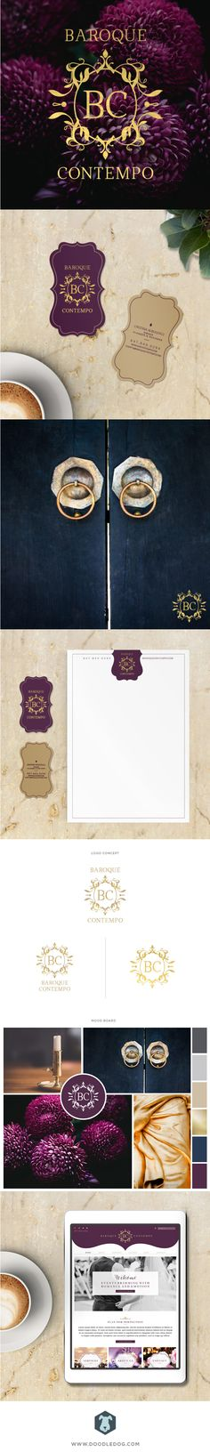 This rich, regal brand design is perfect for European inspired, event planners, Baroque Contempo.