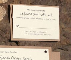 Little RSVP cards to be included in the invites