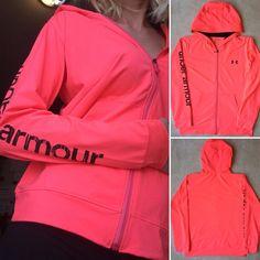 Womens UNDER ARMOUR Heat Gear Tech Full Zip Yoga Workout Hoodie Jacket Neon Pink…