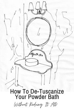 Click through for all the details and links to products that can update a Tuscan style powder bathroom! Wallpaper Samples, Love Wallpaper, Black Granite Tile, Small Round Mirrors, Vanity Backsplash, Olive Jar, Woven Shades, Guest Bathrooms, Mirrored Furniture