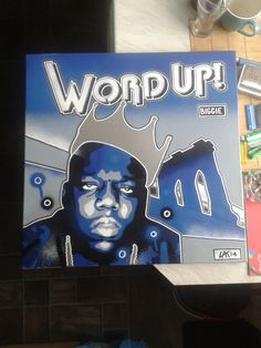 Notorious B.I.G,painting on 24 by 24 inch canvas,stencils & spray paints,hip hop,rap,music,brooklyn,new york,word up,biggie,crown,urban,pop by AbstractGraffitiShop on Etsy