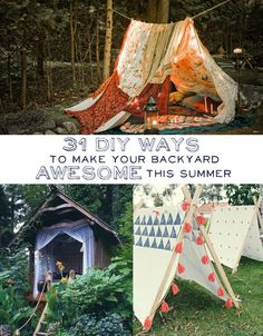 31 DIY Ways to Make Your Backyard Awesome This Summer: Set up a movie theatre Plant a bunch of these giant allium flowers Build a super simple tree house Add a beer cooler to your patio table. Drill holes in your fence and fill with marbles. Turn an old bunk bed into a stargazing loft retreat.