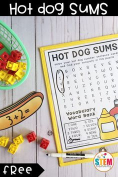 Hot Dog Addition Cards - The Stem Laboratory Addition Activities, Summer Activities For Kids, Math For Kids, Fun Math, Math Activities, Fun Learning Games, Kids Learning, Kindergarten Centers, Math Centers
