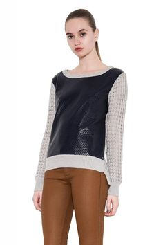 Jade Leather Bonded Pointelle Perforated Sweater for Women One Grey Day, Gray