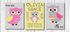 Baby Girl Owl Nursery Art Print Pink Owl by PerfectLittlePrints