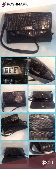 "GEANFRANCO FERRE BLACK ALLIGATOR BUSINESS CLUTCH IN GREAT CONDITION GFF VINTAGE  BLACK REAL ALLIGATOR MENS BUSINESS CLUTCH 14""/10""/4"" Gianfranco Ferre Bags Messenger Bags"