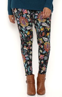 Deb Shops Plus Size Floral Boho Print Leggings $12.00