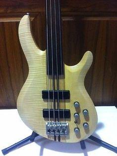 Ocean 4 String Fretless Neck Through Bass Guitar w/ Bartolini Active Pickups