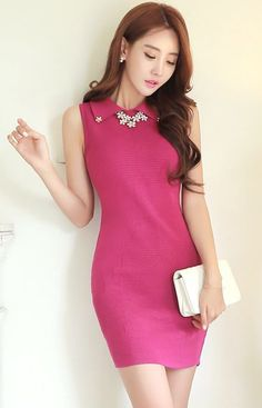 StyleOnme_Jeweled Collar Sleeveless Knit Dress #spring #summer #purple #dress…