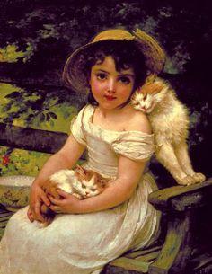 "My sweet ""Boo-Boo Kitti-girl"", my little Song bird. Evans Art, Munier, Victorian Art, Vintage Cat, Fine Art, Beautiful Paintings, Cat Art, Female Art, Art Drawings"
