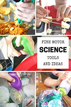 Our favorite fine motor ideas and tools for kids science activities. Plus our newest fine motor ideas book with awesome fine motor activities for toddler, preschool, and kindergarten age kids. Use eyedroppers, tweezers, and squeeze bottles for fine motor and science projects.