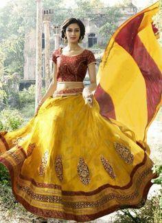 Marvelous mustard and red embroidery net lehanga choli  http://www.angelnx.com/Lehenga-Choli
